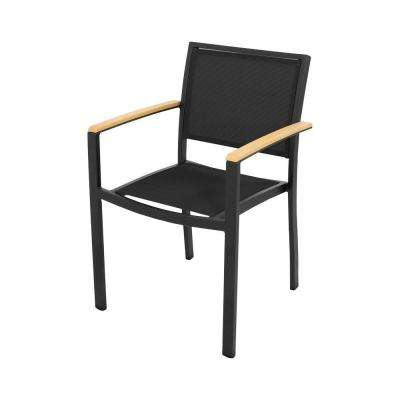 Bayline Textured Black Plastique All Weather Plastic Sling Outdoor Dining Arm Chair In