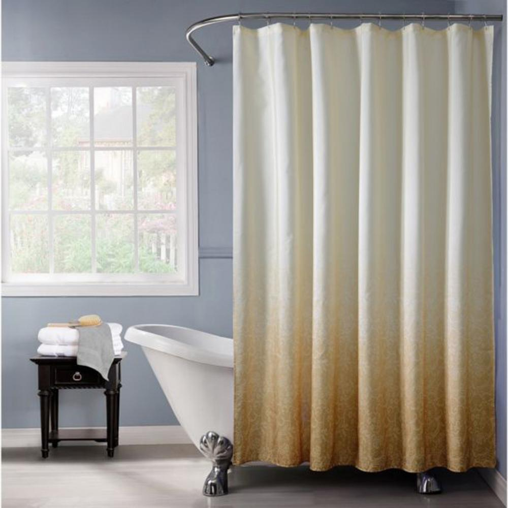 Bath Bliss 72 In Gold Shower Curtain In Ombre Printed Polyester