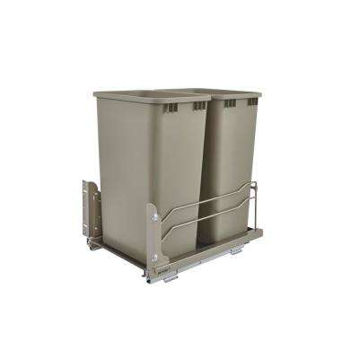 22.875 in. H x 15.5 in. W x 22.25 in. D Double50 Qt. Pull-Out Champagne Waste Container with Soft-Close Slides