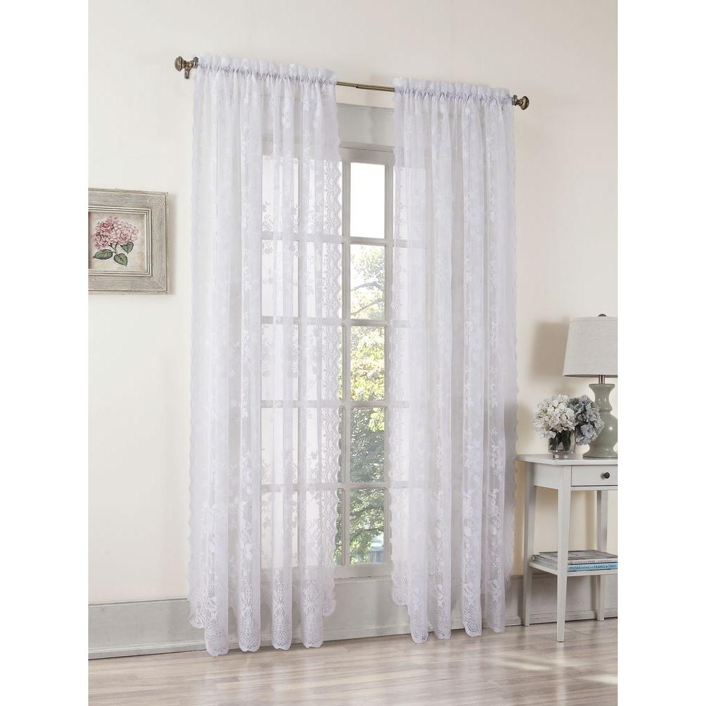 Sheer White Alison Lace Curtain Panel