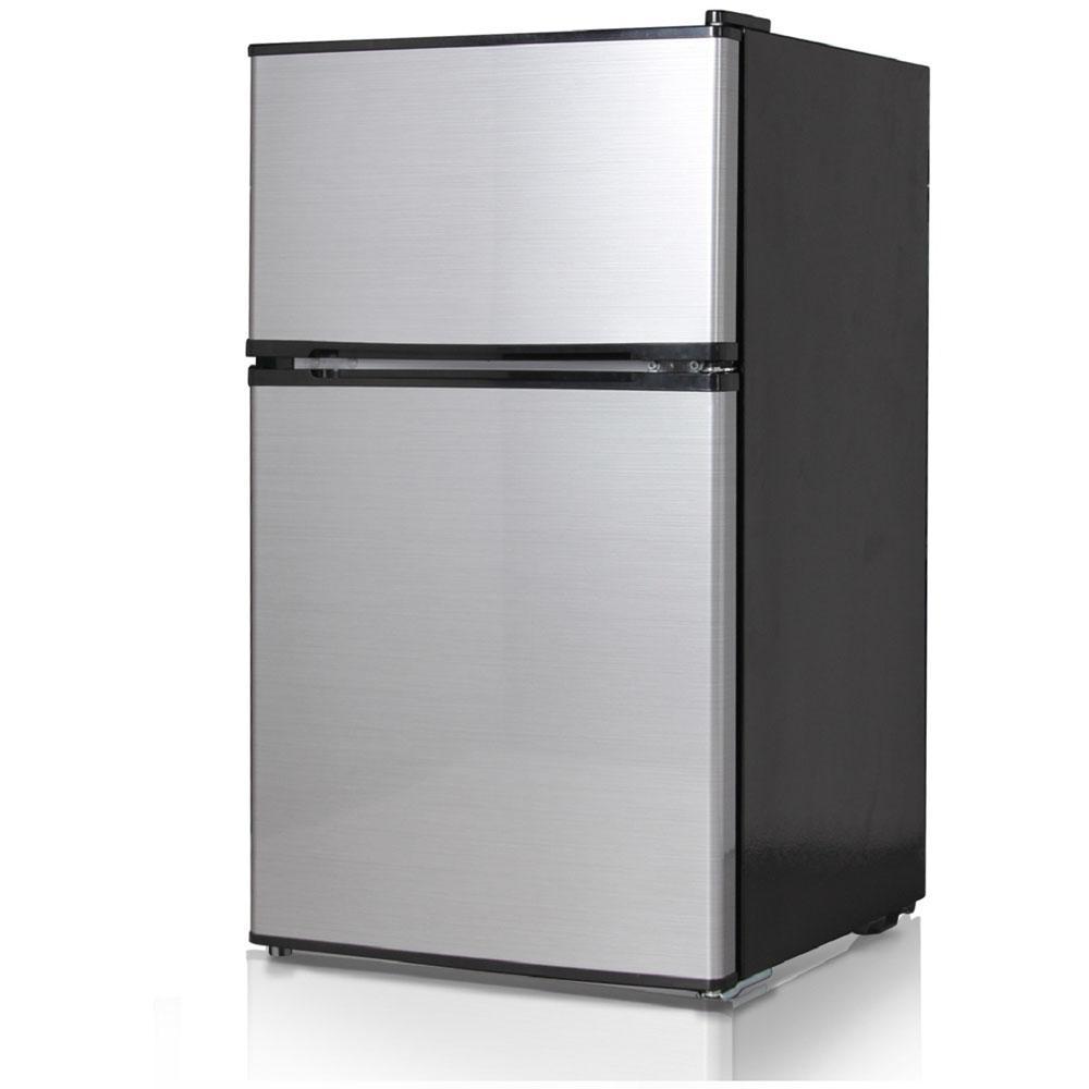 Double Door Mini Refrigerator/Freezer In Stainless Steel