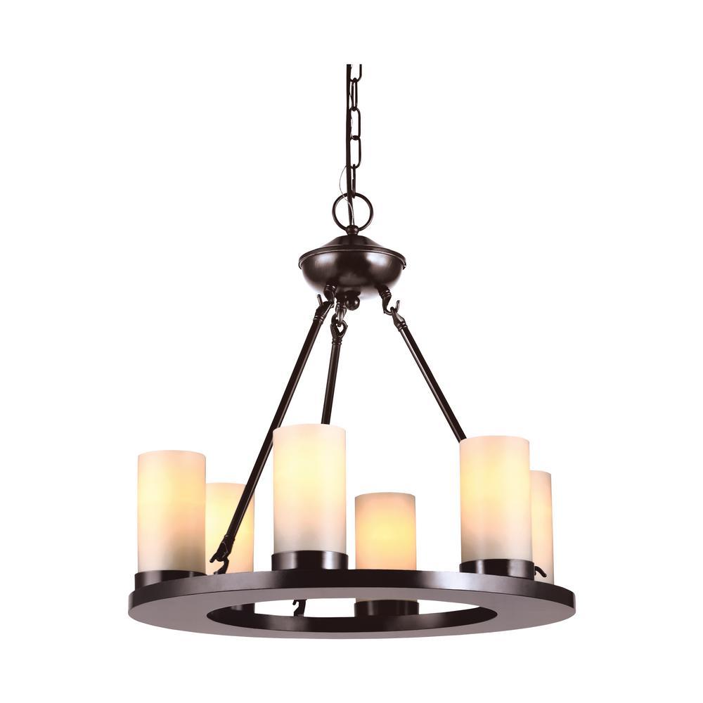 Ellington 6-Light Burnt Sienna Chandelier with LED Bulbs