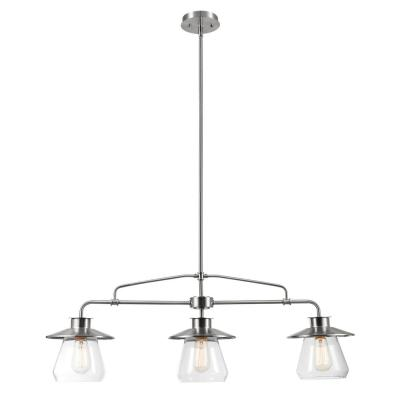 Nate 3-Light Brushed Steel Chandelier with Clear Glass Shades