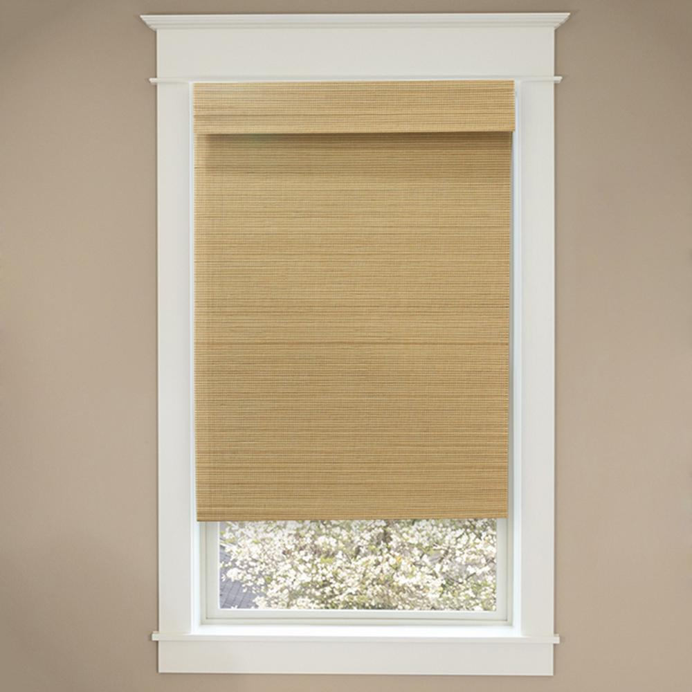 Cordless Natural Multi-Weave Bamboo Roman Shade - 43 in. W x