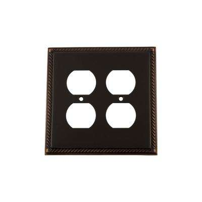 Rope Switch Plate with Double Outlet in Timeless Bronze