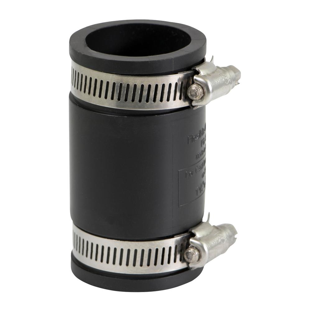 The Plumber's Choice 1 in. PVC Flexible Coupling with Stainless Steel Clamps