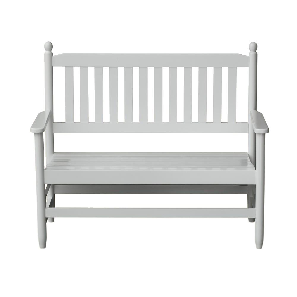 2-Person White Wood Outdoor Patio Bench