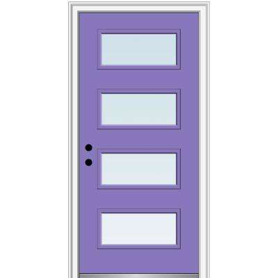 32 in. x 80 in. Celeste Right-Hand Inswing 4-Lite Clear Low-E Glass Painted Steel Prehung Front Door on 6-9/16 in. Frame