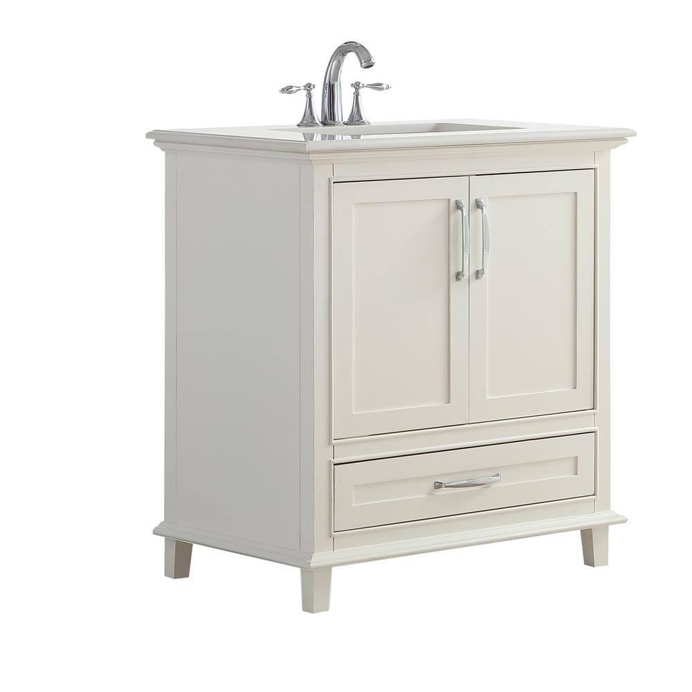 Simpli Home Chelsea 30 In Vanity In Soft White With