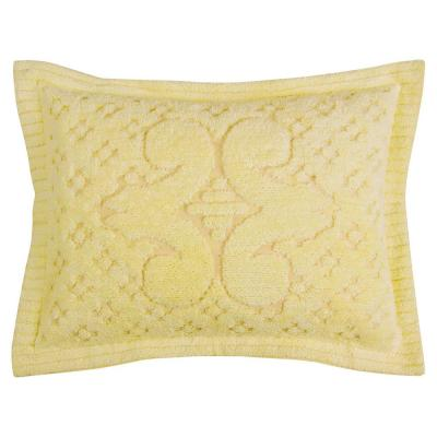 Ashton Collection in Medallion Design Yellow Standard 100% Cotton Tufted Chenille Sham