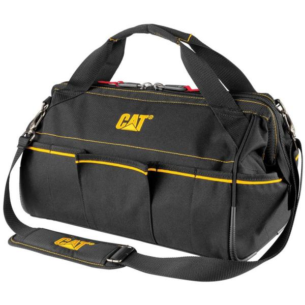 16 in. 14-Pocket Tech Wide Mouth Tool Bag in Black