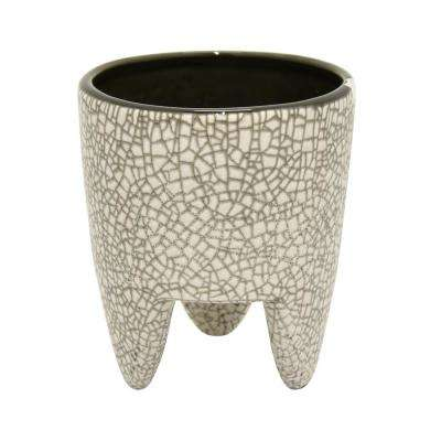 6 in. Ceramic Flower Pot in Gray