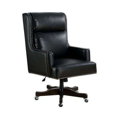 Harris black upholstered nailhead trim height adjustable office chair