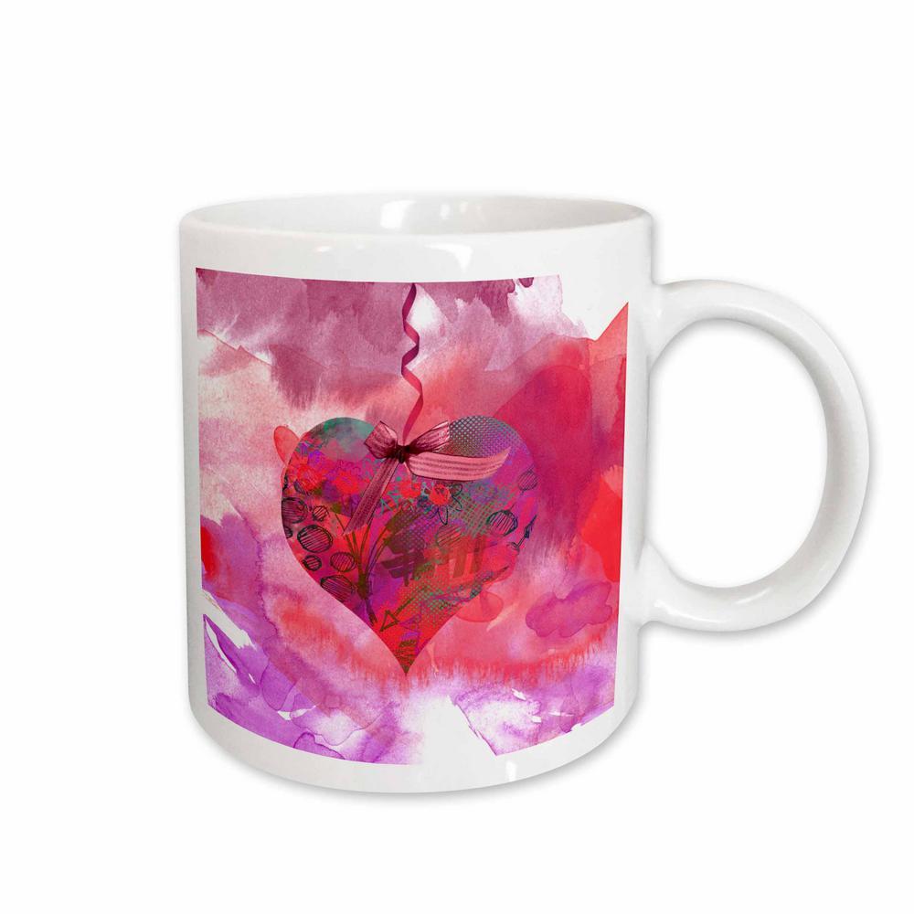 a79f454f58962 Beverly Turner Valentine Design Bright Pink Heart Art on Ribbon with A Bow  11 oz. White Ceramic Coffee Mug
