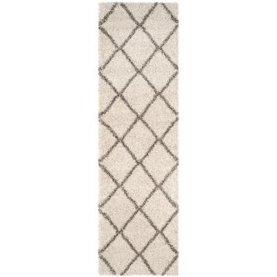Hudson Shag Ivory/Gray 2 ft. 3 in. x 6 ft. Runner Rug