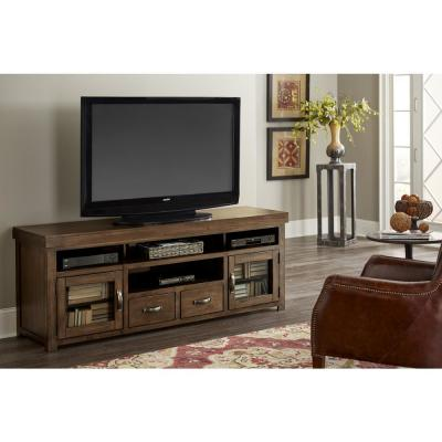 Navaro 74 in. Sienna Pine Wood TV Stand with 2 Drawer Fits TVs Up to 80 in. with Storage Doors