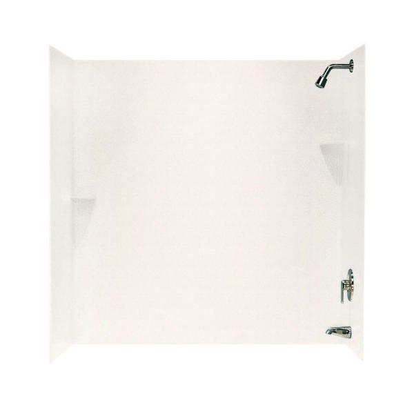 Swan 30 in. x 60 in. x 60 in. 3-Piece Easy Up Adhesive Corner Tub Wall in Tahiti Ivory