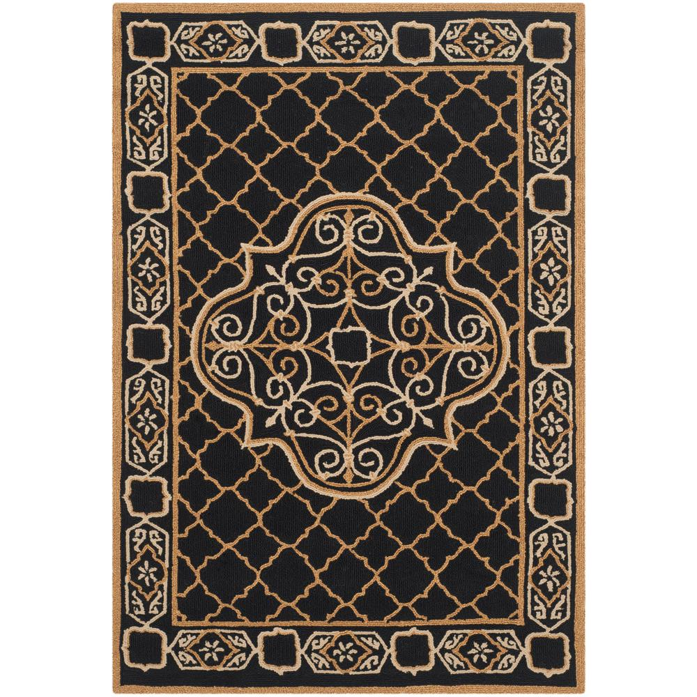Large Area Rugs Gold: Safavieh Classic Black/Gold 5 Ft. X 5 Ft. Round Area Rug