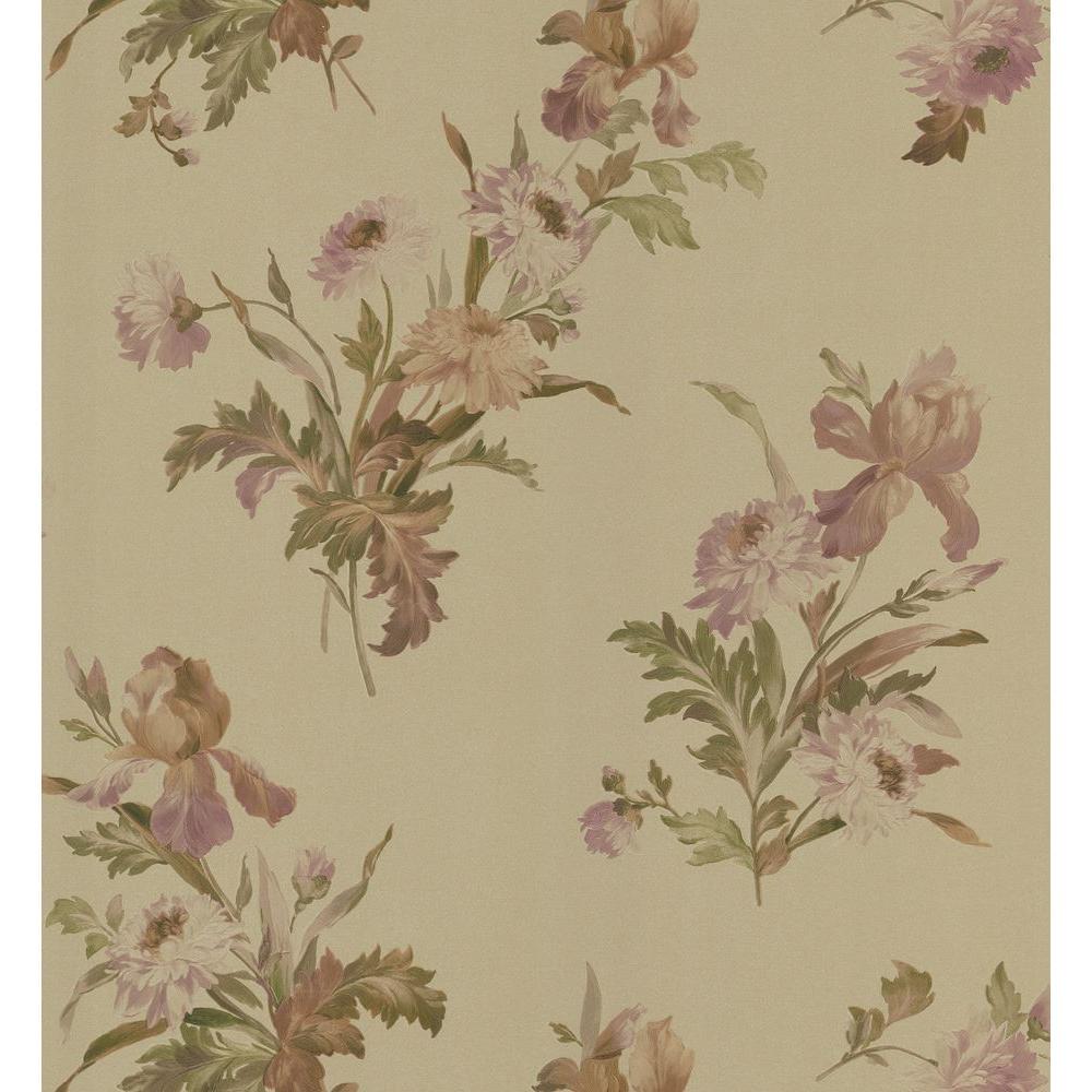 Kitchen and Bath Resource II Gold Iris Floral Wallpaper Sample