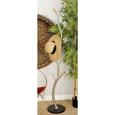 67 in. Modern Stainless Steel and Marble Coat Rack Stand
