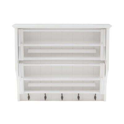 Madison 30 in. H White Accordion Wall Mounted Laundry Drying Rack with 5-Hook