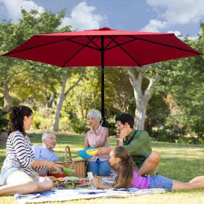9 ft. Market Table Patio Umbrella with Push Button Tilt and Crank in Red