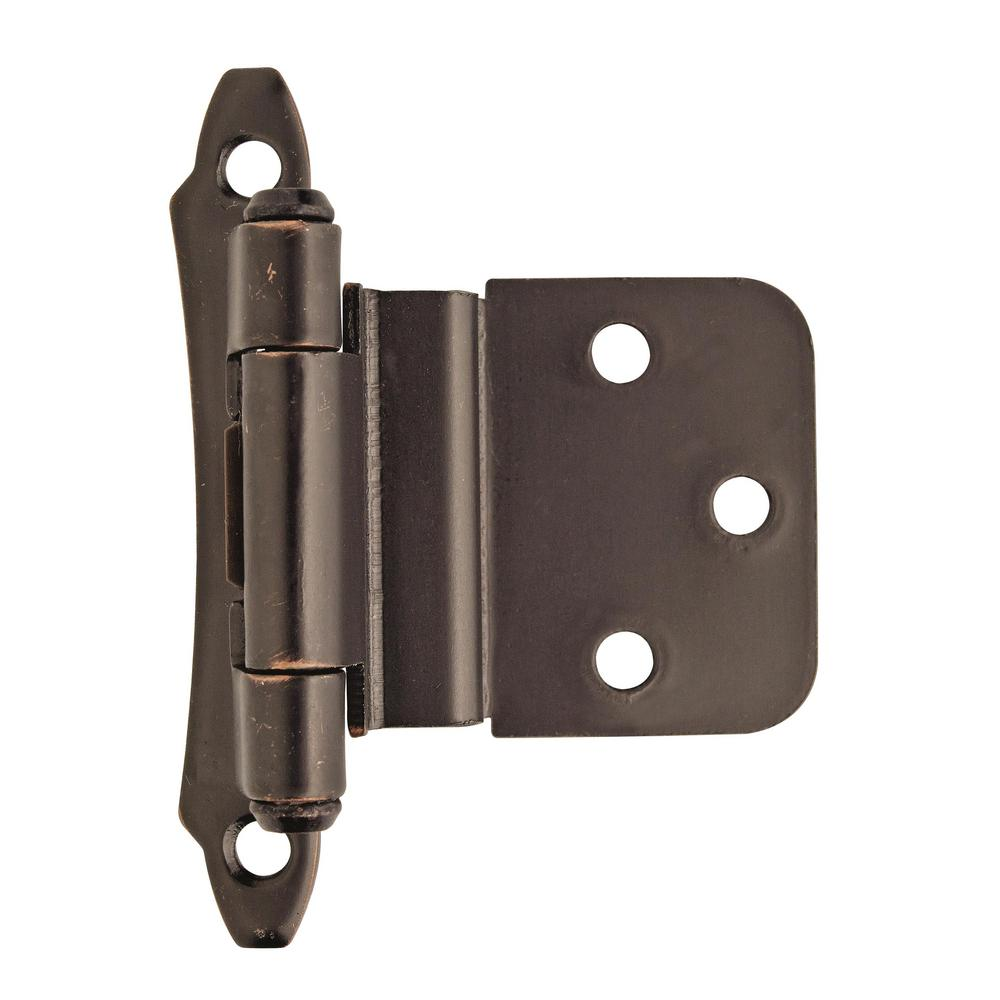 Amerock 3/8 in. (10 mm) Oil-Rubbed BronzeInset Self-Closing, Face Mount Hinge (2-Pack)