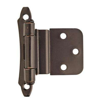3/8 in. (10 mm) Oil-Rubbed BronzeInset Self-Closing, Face Mount Hinge (2-Pack)