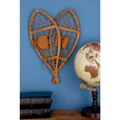 55 in. Decorative Pine Wood and Leather Snowshoes Sculpture in Stained Brown