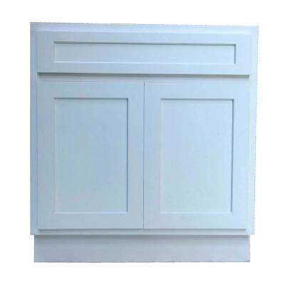 30 in. W x 21 in. D x 32.5 in. H 2-Doors Bath Vanity Cabinet Only in White