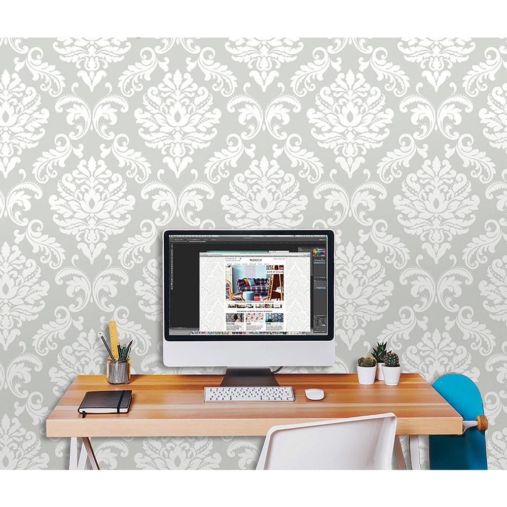 Nuwallpaper grey ariel peel and stick wallpaper nu1935 for Paintable peel n stick wallpaper