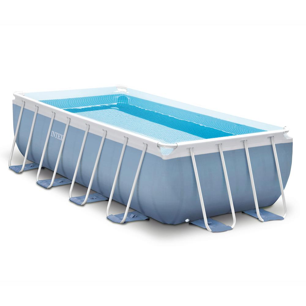 Intex 16 ft. x 8 ft. x 42 in. D Rectangular Prism Frame Swimming Pool Set