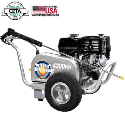 Aluminum WaterBlaster 4200 psi at 4.0 GPM HONDA GX390 with AAA Triplex Pump Professional Gas Pressure Washer (CARB)
