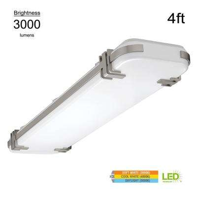 Mission Style 4 ft. Rectangular Brushed Nickel 200 Watt Equivalent Integrated LED Flushmount with Color Changing Feature