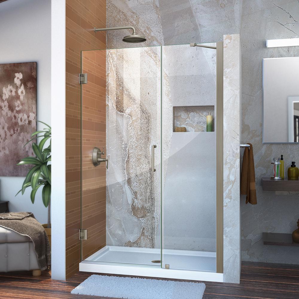 Unidoor 46 to 47 in. x 72 in. Frameless Hinged Shower Door in Brushed Nickel