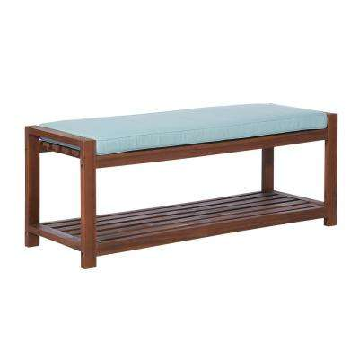 Dark Brown Wood Outdoor Patio Bench with Blue Cushion