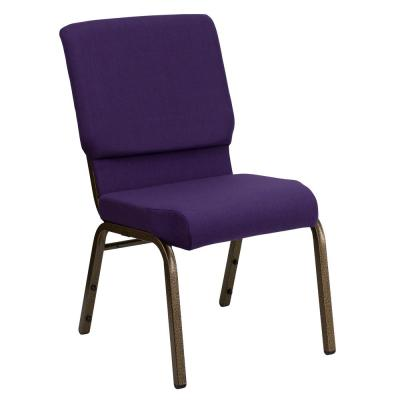 Royal Purple Fabric/Gold Vein Frame Stack Chair