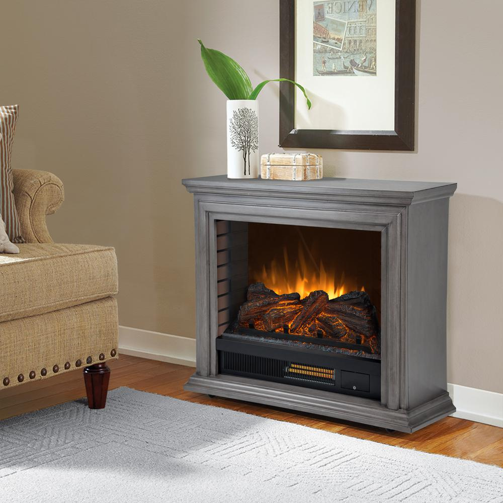 This Review Is From:Sheridan 32 In. Freestanding Mobile Infrared Electric  Fireplace In Dark Weathered Gray
