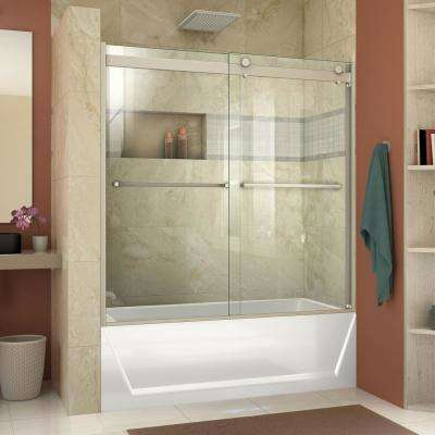 Essence-H 60 in. x 60 in. Frameless Bypass Tub Door in Brushed Nickel