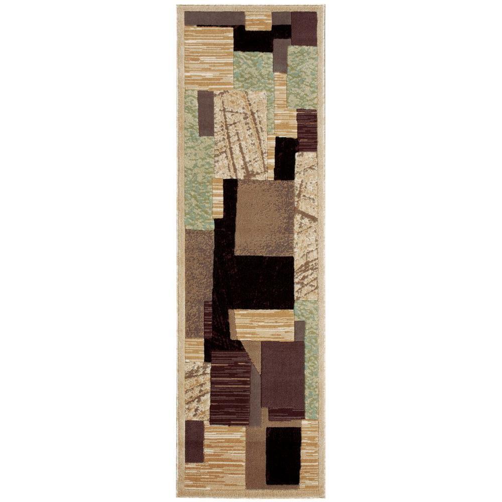 Nourison Overstock Modesto Collage Beige 2 ft. 2 in. x 7 ft. 3 in. Rug Runner