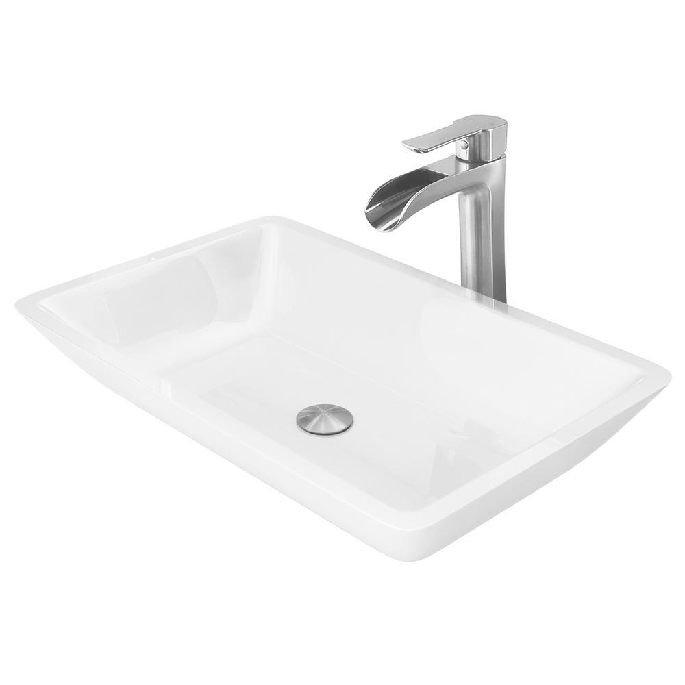 Vigo Phoenix Stone Vessel Sink In White With Niko Faucet Brushed Nickel