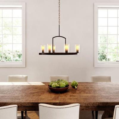 Newbury Manor Collection 25 in. 6-Light Vintage Bronze Chandelier with Clear Seeded Glass Shades
