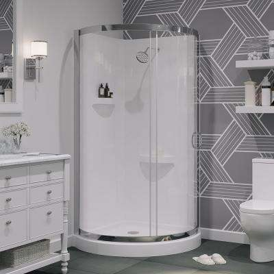 Breeze 36 in. x 36 in. x 76 in. Shower Kit with Reversible Sliding Door and Shower Base