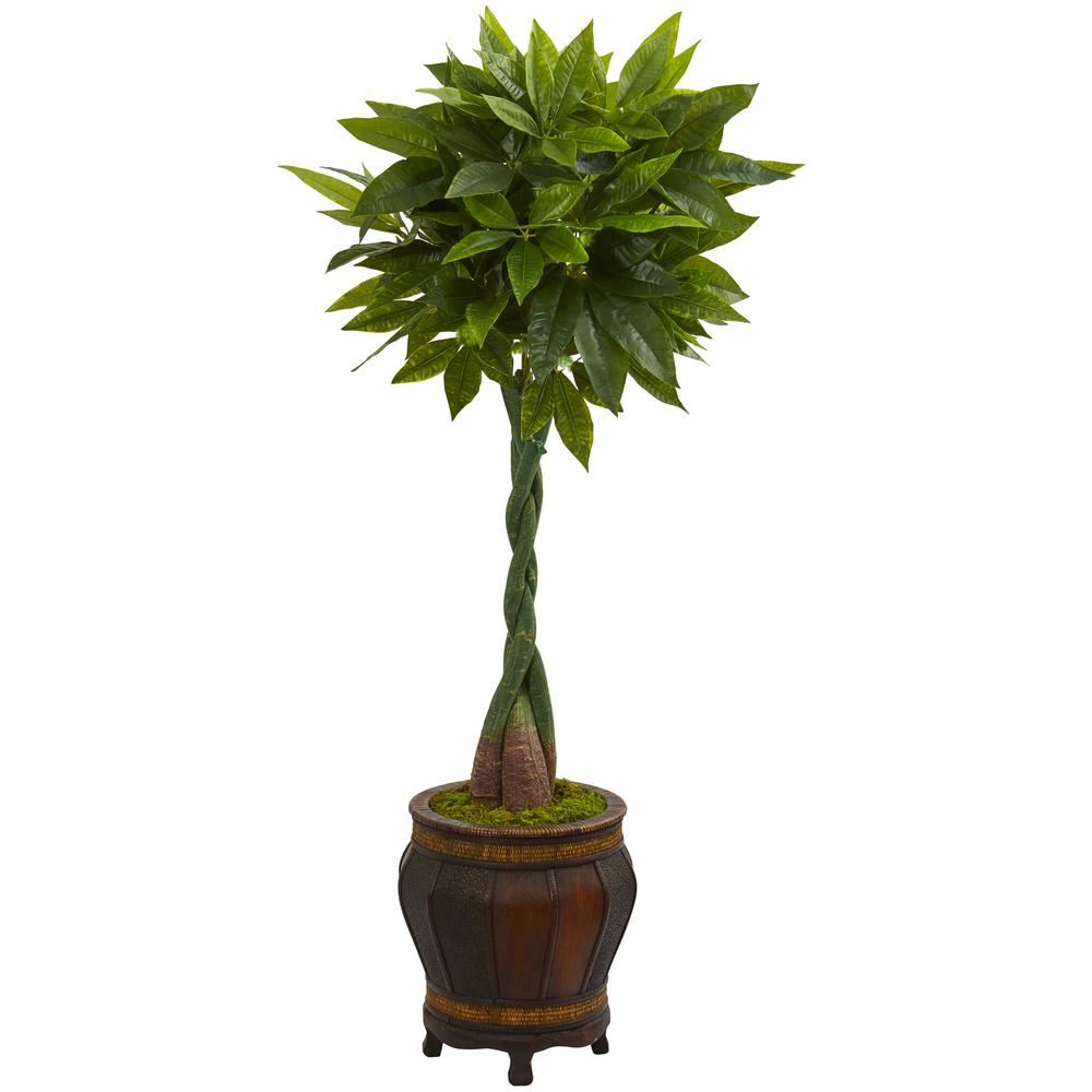 Nearly Natural Real Touch 5 Ft High Indoor Money Artificial Tree In Decorative Planter 5729
