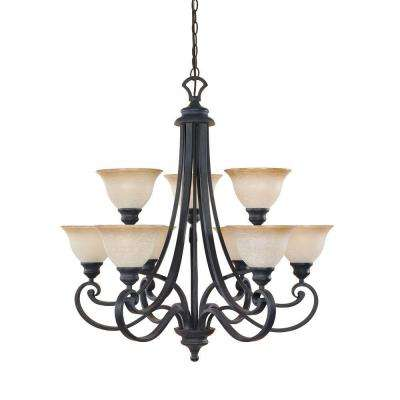 Monte Carlo 9-Light Hanging Natural Iron Chandelier
