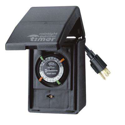 15 Amp Heavy Duty Outdoor Plug-In Timer for Lights and Decorations, Black