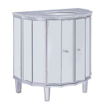 Femmter 33 in. W x 22 in. D Vanity in Silver Mirrored Finish with Marble Top in Gray with White Basin