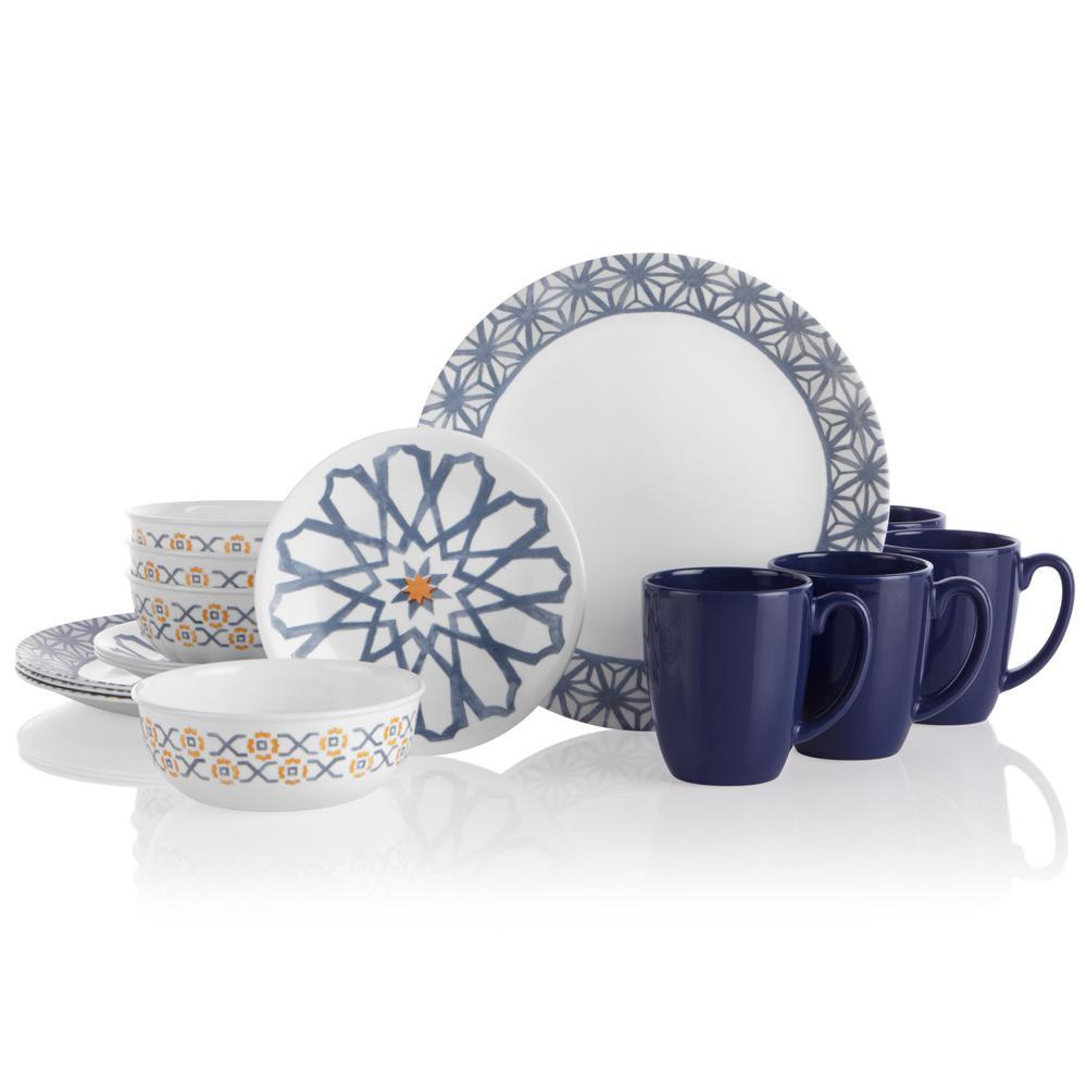 16-Piece Casual Amalfi Azul Glass Dinnerware Set (Service for 4)