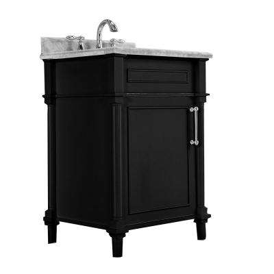 Aberdeen 24 in. W x 22 in. D Vanity in Black with Marble Top in White with White Basin