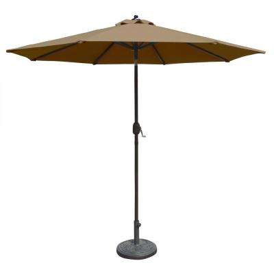 Mirage 9 ft. Octagonal Market Auto-Tilt Patio Umbrella in Stone Sunbrella Acrylic
